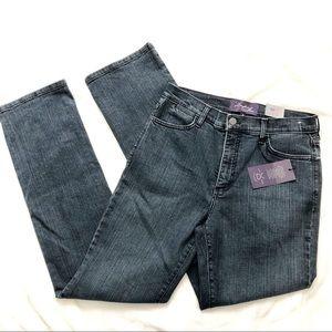 NYDJ blue lift tuck high rise straight leg jeans 8